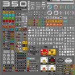 "<span class=""title"">【無料】Sanctus氏によって製作されたデカール素材「350 sci-fi decal pack」(#Blender)</span>"